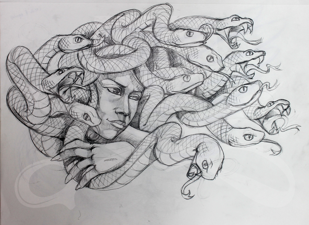 how to draw medusa head